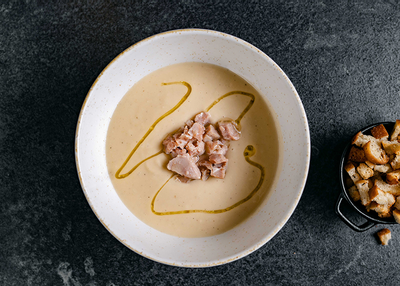 supă cremă de țelină cu ghimbir și curcan